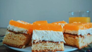 Prăjitura Fanta cu brânză dulce și jeleu de portocale